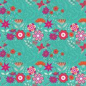 Květinový vzor bezešvé s květinami a motýli — Stock vektor