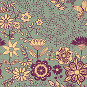 Floral seamless pattern with flowers and butterflies — Stock Vector