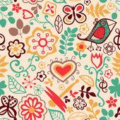 Desenho animado sem costura textura com flores, libélula e pássaro. — Vetor de Stock