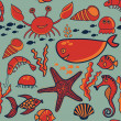 Pattern with fish, crab,seaweed, starfish, seahorse - Stock Vector