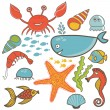 Cartoon set with sea live — Vector de stock