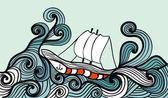Nave a vela nell'oceano tempesta — Vettoriale Stock