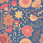 水彩纹理与花和鸟 — 图库矢量图片