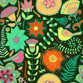 Çiçekler ve kuşlar ile suluboya doku — Stok Vektör