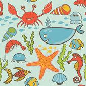 Pattern with fish, crab,seaweed, starfish, seahorse — Stock Vector