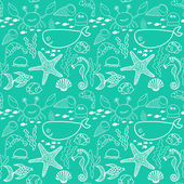 Pattern with fish, crab,seaweed, starfish, seahorse — Vecteur