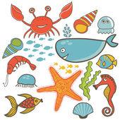 Cartoon set with sea live — Stock Vector