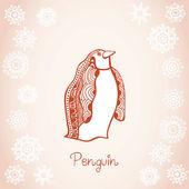 Card illustration of penguin under snowfall — Stock Vector