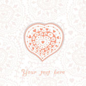 Ornate heart on seamless floral pattern — Stock Vector