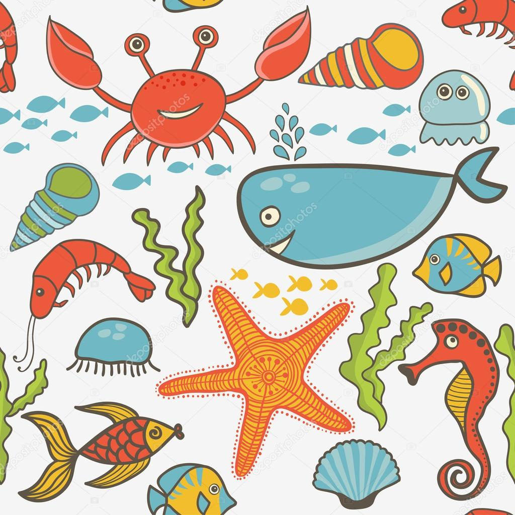 鱼, 蟹, 紫菜, 海星, 海马与模式 — 矢量图片作者 markovka