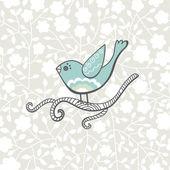 Vector de pájaro en la rama — Vector de stock