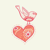 Vector bird on heart — Vector de stock