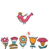 Kuş, sizin metin için yer ile çiçek kartı — Stok Vektör