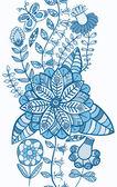 Vertikala smidig konsistens med blommor och fjärilar. ändlösa blommönster — Stockvektor