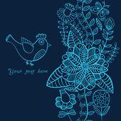 Pták, květinovým kartu s místem pro vás text — Stock vektor