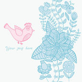 Bird, floral card with place for you text — Stock Vector