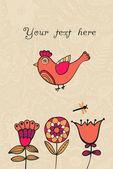 Uccello, carta floreale con il posto per voi testo — Vettoriale Stock
