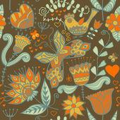花卉、 鸟类与蝴蝶的无缝纹理。无休止的花卉图案. — 图库矢量图片