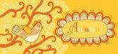 Banner w stylu retro z ptaków i ramki tekstu — Wektor stockowy