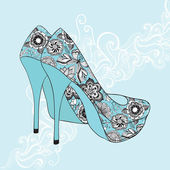 A high-heeled vintage shoes — Stock Vector
