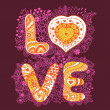 The word love.Romantic background — Imagen vectorial