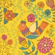 Seamless texture with flowers and birds. — Stockvektor