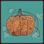 Ornated pumpkin, Halloween card — Stock Vector #21886657