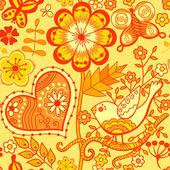以鲜花、 鸟类与蝴蝶的无缝纹理 — 图库矢量图片
