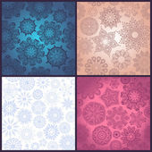 Set of ornated seamless texture, endless pattern with flowers or snowflakes — Stock Vector