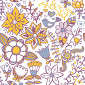 Seamless texture with flower, bird and butterfly. Endless floral pattern. — Stock Vector