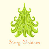 Christmas tree, Marry Christmas card — Stock Vector