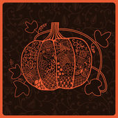 Ornated pumpkin, Halloween card — Stock Vector