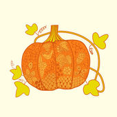 Ornated pumpkin, Halloween card — Cтоковый вектор
