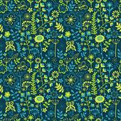 Textura sin fisuras con flores y mariposas — Vector de stock