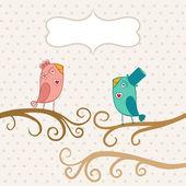 Beautiful birds in love — Stock Vector