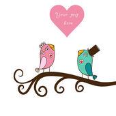 Belas aves no amor — Vetor de Stock