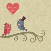 Beautiful birds in love. — Stock Vector
