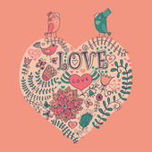 Floral καρδιά. καρδιά από λουλούδια — Διανυσματικό Αρχείο