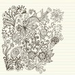Variety of hand drawn floral doodles on lined paper. - Stock Vector