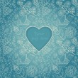 Floral background in blue with heart — 图库矢量图片
