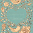 Floral ornament heart shape with place for your text. Valentine's day background. — Imagen vectorial