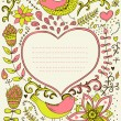 Floral ornament heart shape with place for your text. Valentine's day background. — 图库矢量图片