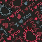 心と蝶でロマンチックなシームレスなテクスチャです。愛しています. — ストックベクタ