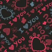 Romantic seamless texture with hearts and butterflies. I love you. — Stockvektor