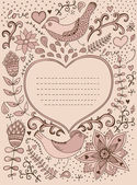 Floral ornament heart shape with place for your text. Valentine's day background. — Stock Vector