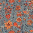 Seamless texture with flower, bird and butterfly. Endless floral pattern. - Stock Vector
