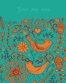 Karta s květinami, srdce a ptáci, Pozvánka — Stock vektor