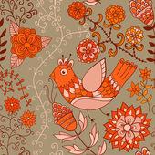 Textura sin fisuras con flores y pájaros. — Vector de stock