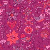 花、鳥、蝶とのシームレスなテクスチャです。無限の花柄のパターン. — ストックベクタ