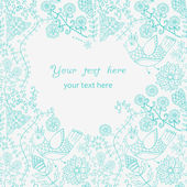 鸟,为您的文本与地方花卉卡 — 图库矢量图片